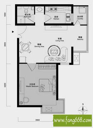 20平一室一厅一厨设计图