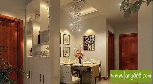 中式风格客厅与餐厅玄光 隔断装修效果图,隔断墙隔断帘,隔