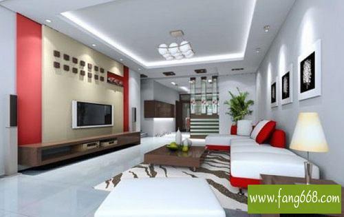 客廳吊頂效果圖,現代簡約明亮風格的客廳吊頂造型